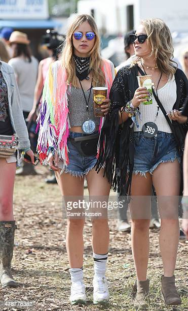 Suki Waterhouse attends the Glastonbury Festival at Worthy Farm Pilton on June 27 2015 in Glastonbury England