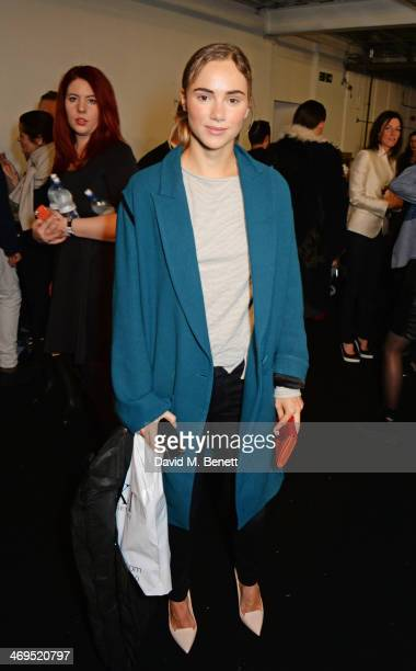 Suki Waterhouse attends the Hunter Original AW 2014 Show at Ambika P3 Gallery University of Westminster on February 15 2014 in London England