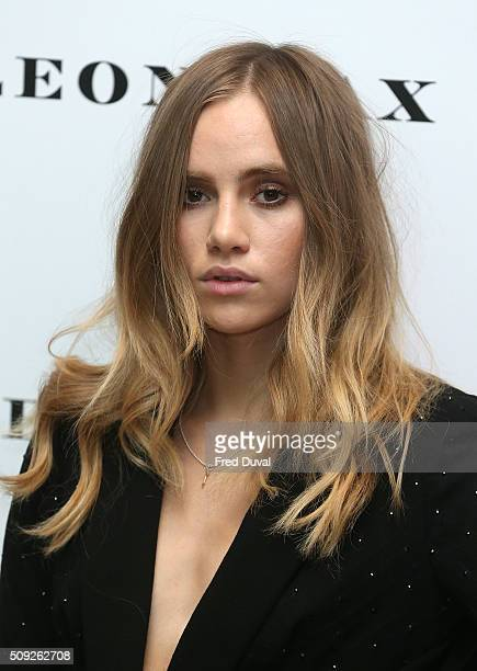 Suki Waterhouse attends the opening of Vogue 100 A Century of Style at National Portrait Gallery on February 9 2016 in London England