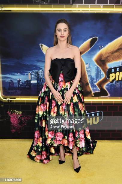 Suki Waterhouse attends the premiere of Pokemon Detective Pikachu at Military Island in Times Square on May 2 2019 in New York City