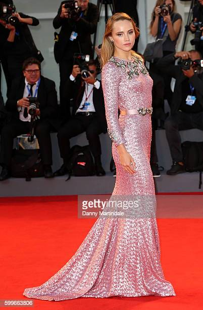 Suki Waterhouse attends the premiere of 'The Bad Batch' during the 73rd Venice Film Festival at Sala Grande on September 6 2016 in Venice Italy