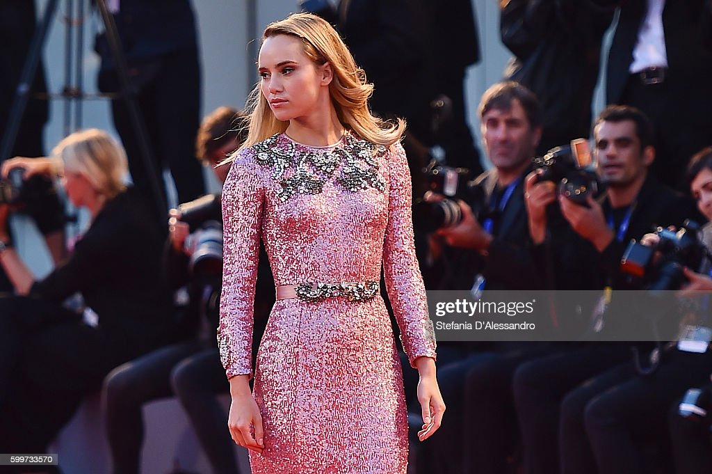 Suki Waterhouse attends the premiere of 'The Bad Batch' during the 73rd Venice Film Festival at Sala Grande on September 6, 2016 in Venice, Italy.