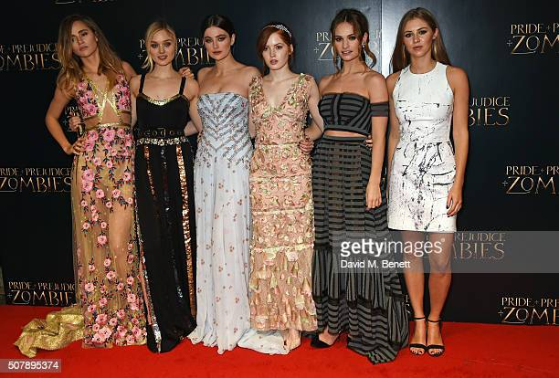 Suki Waterhouse Bella Heathcote Millie Brady Ellie Bamber Lily James and Hermione Corfield attend the European Premiere of 'Pride And Prejudice And...