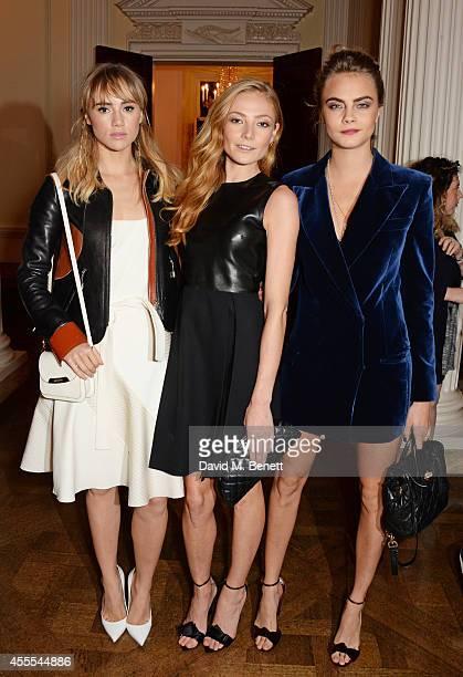 Suki Waterhouse Clara Paget and Cara Delevingne attend as Ambassador Barzun Mrs Brooke Barzun and Alexandra Shulman celebrate London Fashion Week at...