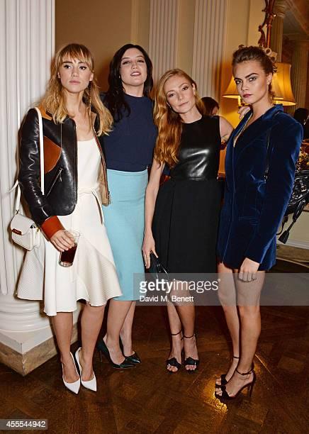 Suki Waterhouse Daisy Lowe Clara Paget and Cara Delevingne attend as Ambassador Barzun Mrs Brooke Barzun and Alexandra Shulman celebrate London...