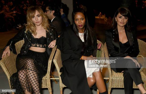 Suki Waterhouse Naomi Campbell and Penelope Cruz wearing Burberry attend the Burberry February 2017 Show during London Fashion Week February 2017 at...
