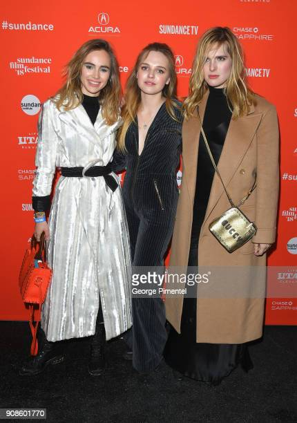 Suki Waterhouse Odessa Young and Hari Nef attends the 'Assassination Nation' Premiere during the 2018 Sundance Film Festival at Park City Library on...