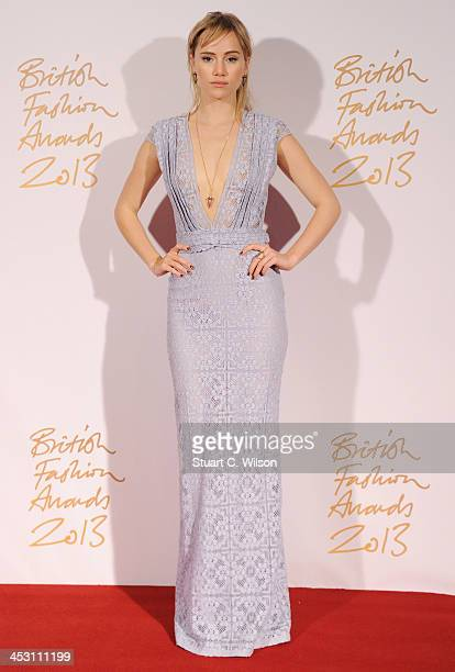 Suki Waterhouse poses in the winners room at the British Fashion Awards 2013 at London Coliseum on December 2 2013 in London England