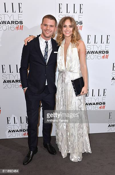 Suki Waterhouse poses with her award for Breakthrough Star of The Year with Jeremy Irvine in the winners room at The Elle Style Awards 2016 on...