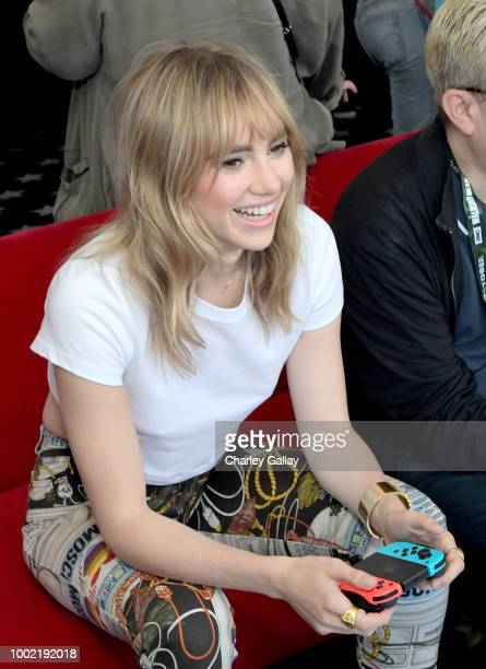 Suki Waterhouse puts her gaming skills to the test playing Mario Kart 8 Deluxe on Nintendo Switch at the Variety Studio at ComicCon 2018 on July 19...