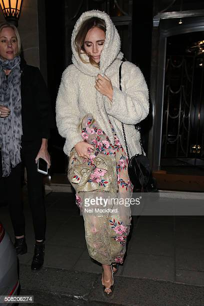 Suki Waterhouse seen leaving Claridges Hotel for the 'Pride and Prejudice and Zombies' Premiere on February 1 2016 in London England on February 1...