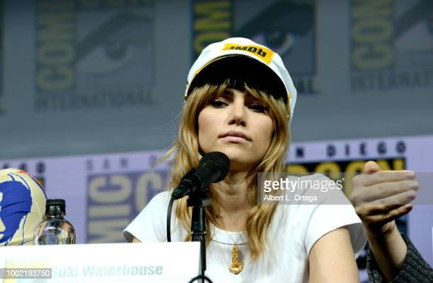 Suki Waterhouse speaks onstage during the 'Assassination Nation' panel with the cast and the Russo Brothers during ComicCon International 2018 at San...