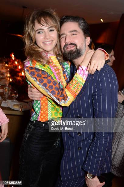 Suki Waterhouse wearing ALEXACHUNG and Jack Guinness attend Alexa Chung's CHUNGSGIVING dinner to celebrate Thanksgiving and the launch of her...