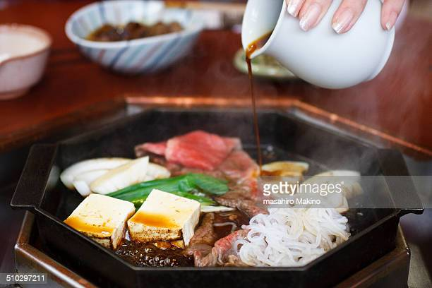 sukiyaki, japanese dish - konjac stock pictures, royalty-free photos & images