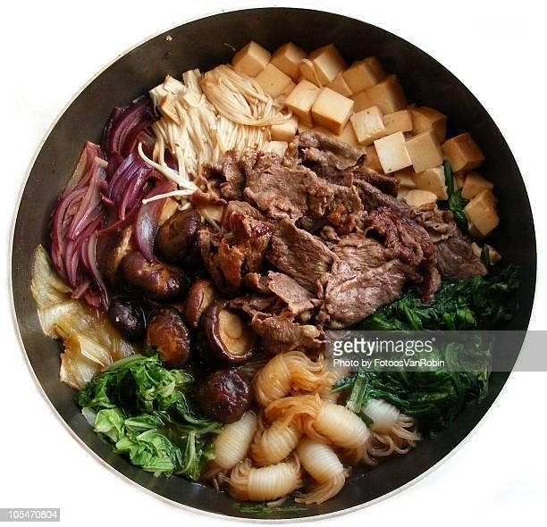 sukiyaki - enoki mushroom stock pictures, royalty-free photos & images