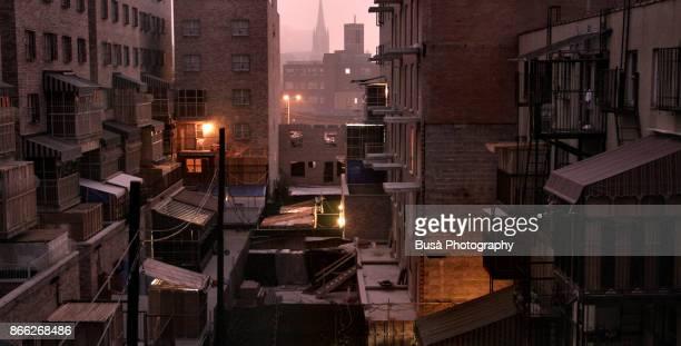 sukkot celebrations, balconies in hasidic district in brooklyn, new york city - 仮庵の祭り ストックフォトと画像