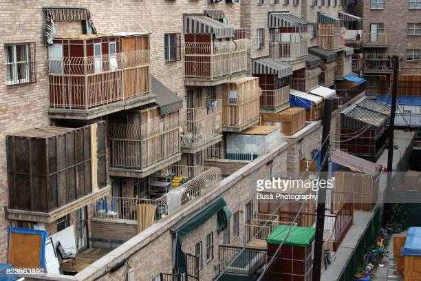 Sukkot celebrations, balconies in Hasidic section of Brooklyn, New York City