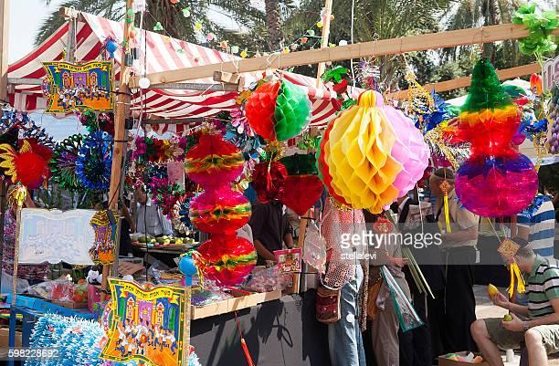 テル・アビブのスコット市場 - 仮庵の祭り ストックフォトと画像