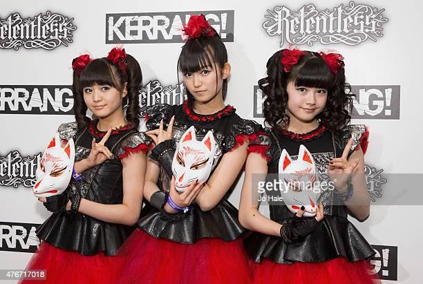 Sukuka Nakamoto 'SuMetal'Yui Mizuno as 'Yuimetal' and Moa Kikuchi as 'Moametal' of Baby Metal attend the Relentless Energy Drink Kerrang Awards at...