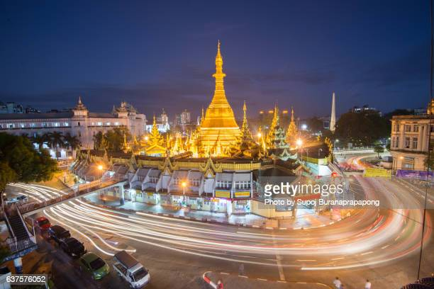 Sule Pagoda entre of the city and an important space in contemporary Burmese politics ,Yangon , Myanmar