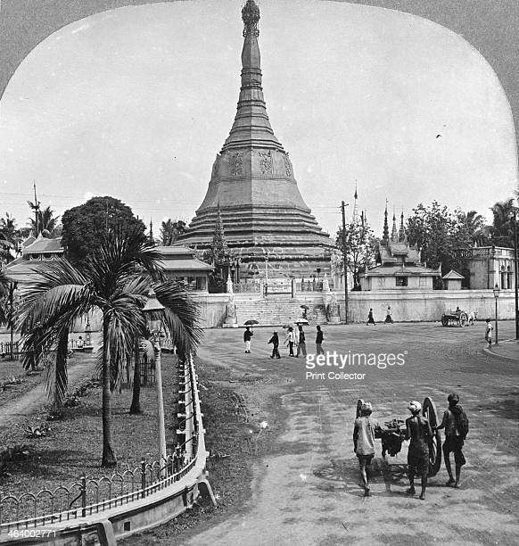 Sule Pagoda from Pagoda Street Rangoon Burma 1908 According to Buddhist tradition the pagoda dates from the lifetime of the Buddha Stereoscopic card...