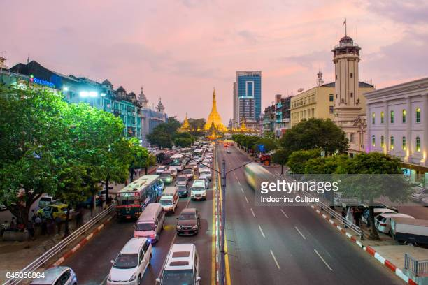 sule pagoda in yangon, myanmar - yangon stock pictures, royalty-free photos & images