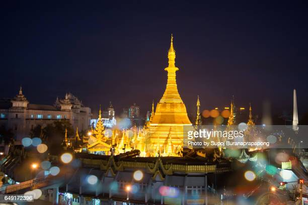 Sule Pagoda the famouse place for worships and traffic circle at middle of yangon city , myanmar