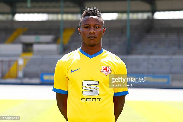 Suleiman Abdullahi poses during the official team presentation of Eintracht Braunschweig at Eintracht Stadion on July 18 2016 in Braunschweig Germany