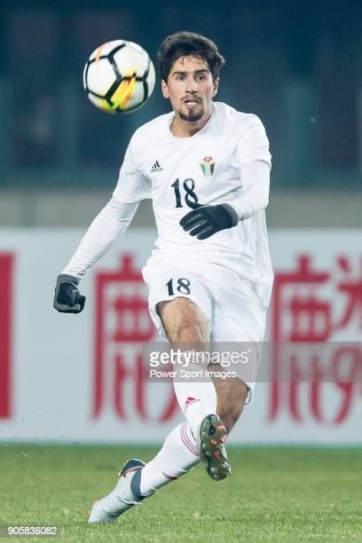Suleiman Abu Zam'a of Jordan in action during the AFC U23 Championship China 2018 Group C match between Malaysia and Jordan at Changshu Sports Center...