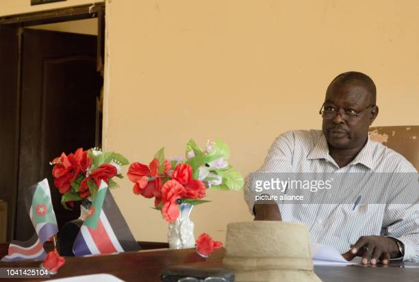 Suleiman Jabona deputy governer sits at his desk in a government building in Kauda Sudan 21 February 2017 Kauda is the capital of the rebelheld areas...