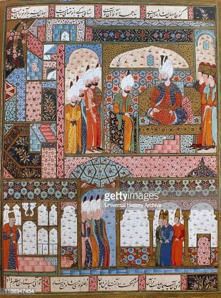 Suleiman the Magnificent Ottoman sultan Suleiman legislating in the Topkapi Palace Miniature of Suleymanname 16th century Topkapi Palace Museum...