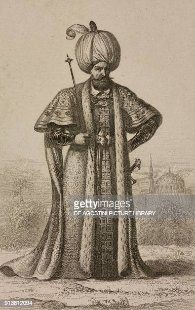 Suleiman the Magnificent sultan of the Ottoman Empire engraving by Lemaitre and Masson from Turquie by Joseph Marie Jouannin and Jules Van Gaver...