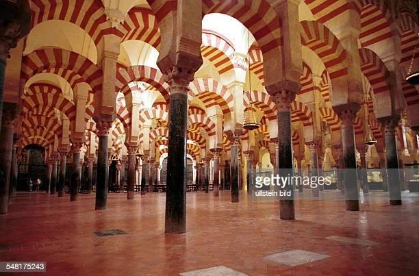 Säulen und Bögen im Innern der Mezquita im 8 Jhd als Moschee erbaut 1236 als Kathedrale geweiht Innenansicht