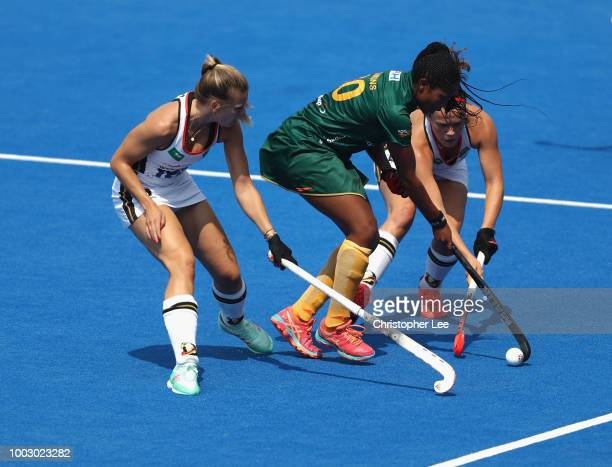 Viktoria Huse is congratulated after scoring their third goal during the Pool C game between Germany and South Africa of the FIH Womens Hockey World...