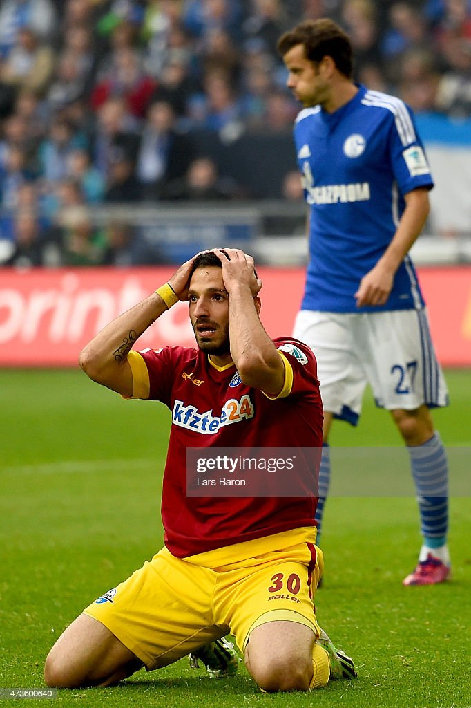 Suleyman Koc of SC Paderborn reacts during the Bundesliga match between FC Schalke 04 and SC Paderborn at Veltins Arena on May 16, 2015 in Gelsenkirchen, Germany.