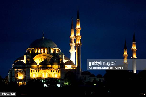 Suleymaniye Camii Mosque aglow at night in Istanbul