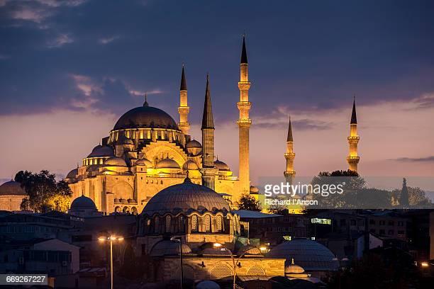 Suleymaniye Mosque at dusk
