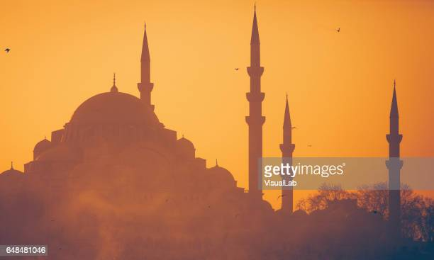 suleymaniye mosque at sunset - mosque stock pictures, royalty-free photos & images
