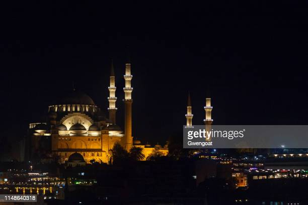 suleymaniye mosque in istanbul by night - gwengoat stock pictures, royalty-free photos & images