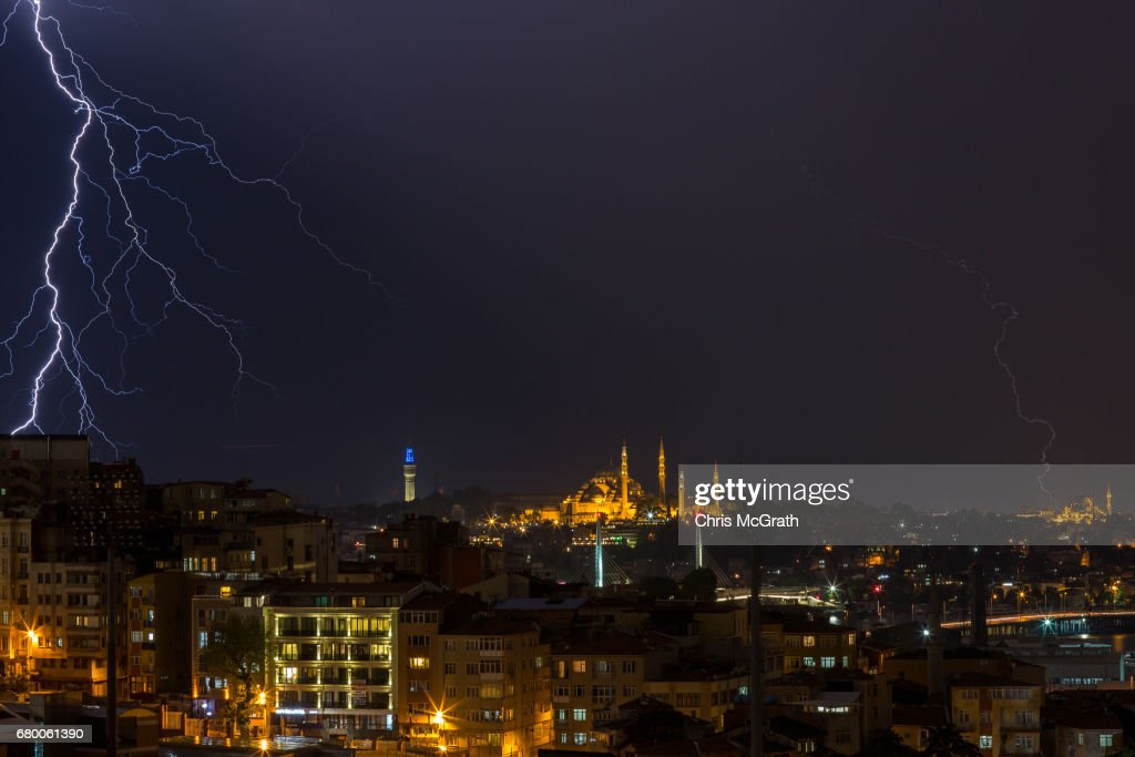 Suleymaniye Mosque is seen as lightning strikes over the Istanbul skyline during a thunderstorm on May 7, 2017 in Istanbul, Turkey.