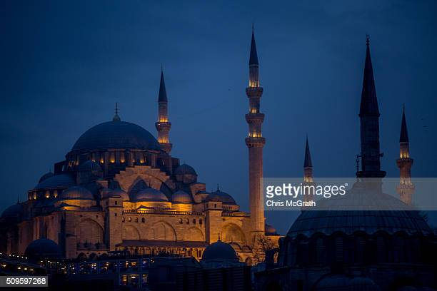 Suleymaniye Mosque is seen at sunset on February 11 2016 in Istanbul Turkey Istanbul is famous for its skyline dotted with historic mosques it is...