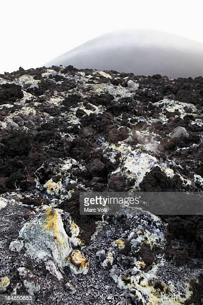Sulfur deposits from a Solfatara, or sulfuric fumarole, Anak Krakatau volcano