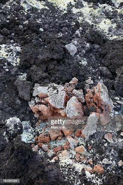 Sulfur deposits from a Solfatara, or sulfuric fumarole, Anak Krakatau volcano, full frame