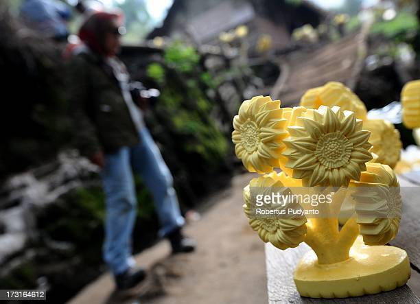 A sulfur souvenir made by the people around Ijen Crater is offered to foreign tourists for about Rp 20000 on July 9 2013 in Arjuna Java Indonesia...