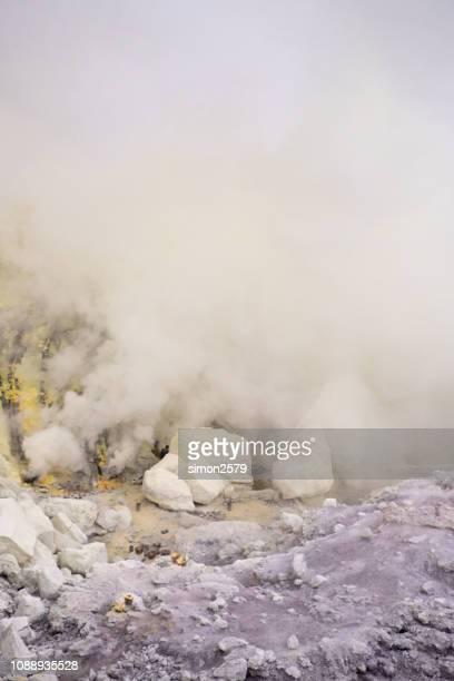 Sulfuric gases at Mountain Ijen volcano in Banyuwangi, Indonesia