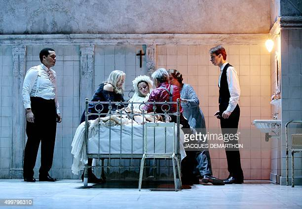 Suliane Brahim as Juliette Laurent Robert as Samson and Hugues Duchene as Peter perform a scene during rehearsals for an adptation of Romeo and...