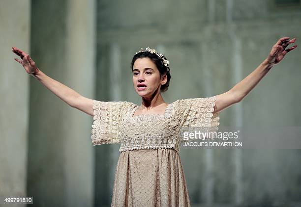 Suliane Brahim playing Juliette acts out a scene during rehearsals for an adptation of Romeo and Juliette directed by Eric Ruf for the players of the...