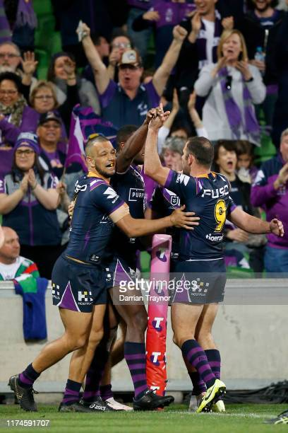 Suliasi Vunivalu of the Storm celebrates a try during the NRL Qualifying Final match between the Melbourne Storm and the Canberra Raiders at AAMI...