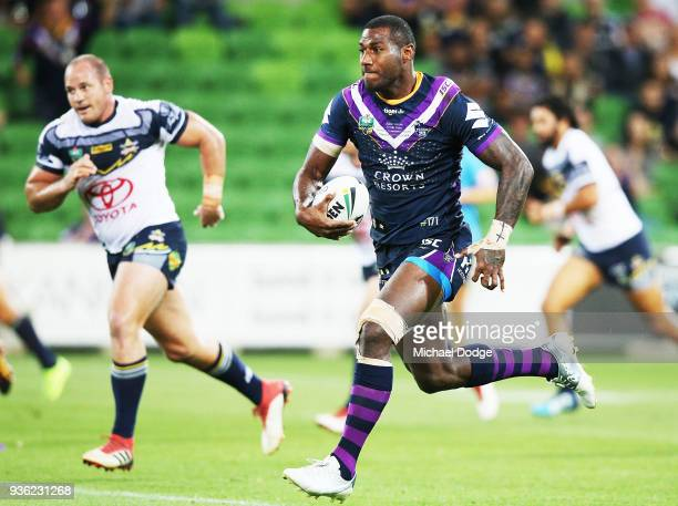 Suliasi Vunivalu of the Storm runs with the ball during the round three NRL match between the Melbourne Storm and the North Queensland Cowboys at...