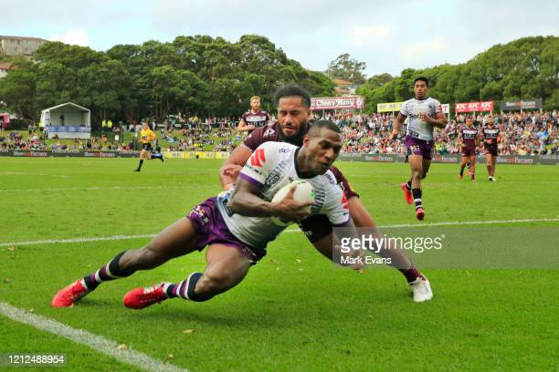 Suliasi Vunivalu of the Storm scores a try during the round 1 NRL match between the Manly Sea Eagles and the Melbourne Storm at Lottoland on March...